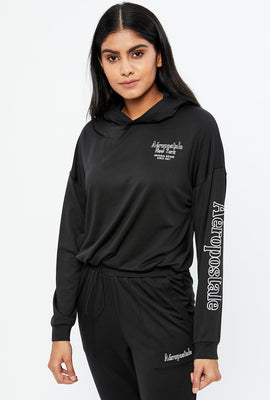 Aéropostale Cropped Drawcord Bottom Pullover Graphic Hoodie