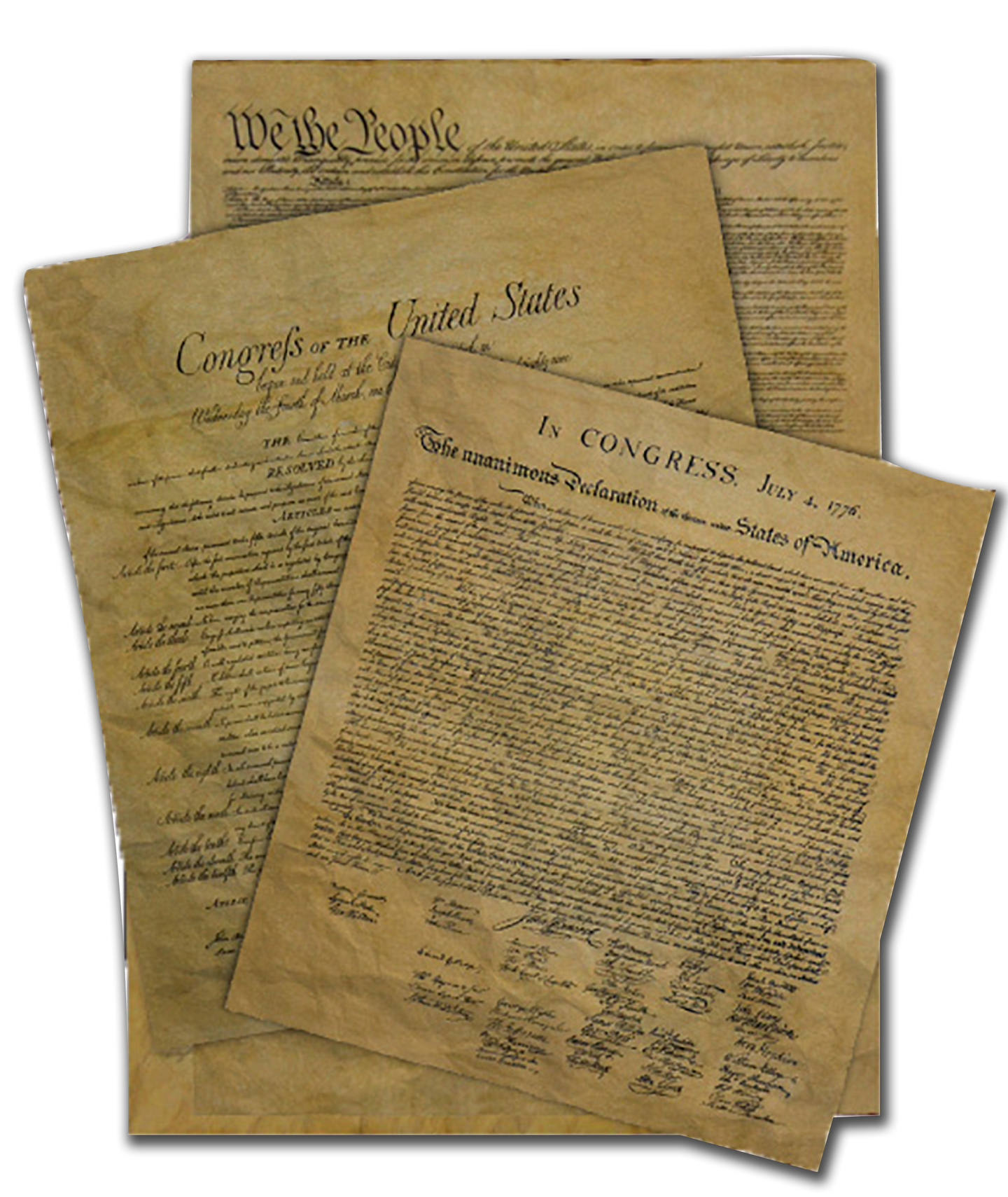 Declaration of Independence, Bill of Rights, United States Constitution