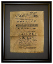 British Sailor Recruiting Poster - 1777, framed