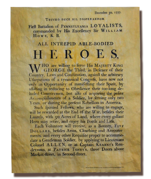 Loyalist Soldier Recruiting Poster, 1777