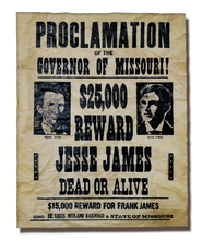 Jesse and Frank James Wanted Poster