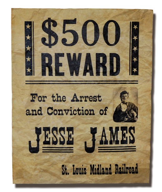 Jesse James Wanted Poster High Quality, Parchment Replica Poster ...