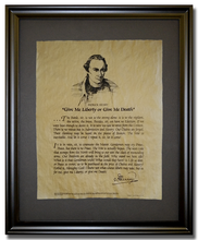 "Patrick Henry, ""Give me Liberty of Give me Death"" Speech <br> (9"" x 14"")"