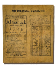 Reprint of two pages from Poor Richard's first Almanac - 1733