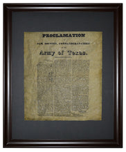 The Proclamation of Sam Houston, Framed