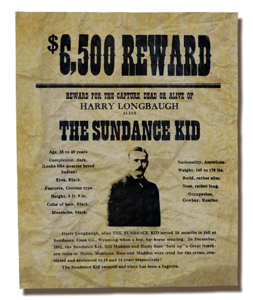 The Sundance Kid Wanted Poster