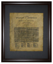 Texas Declaration of Independence - 1836, Framed