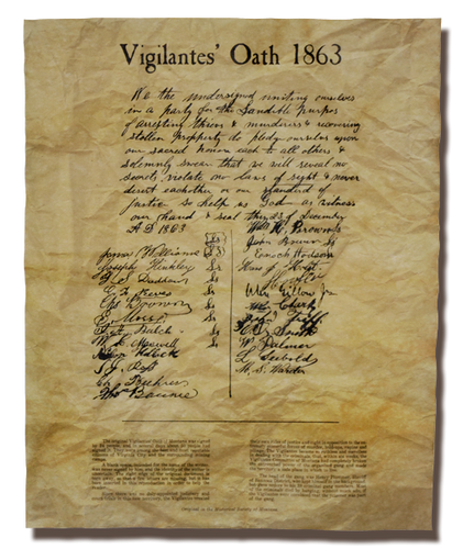 The Vigilantes Oath of 1863 - Virginia City