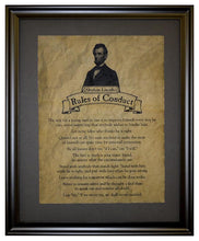 Abraham Lincoln Rules of Conduct, Framed