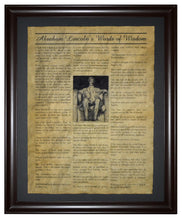 Abraham Lincoln's Words of Wisdom, Framed