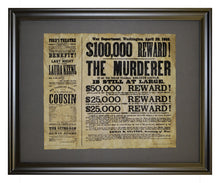 Reward for Lincoln's Assassin, Framed