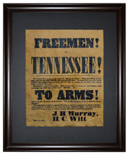 "Tennessee ""TO ARMS"" Recruitment Poster - 1861, Framed"
