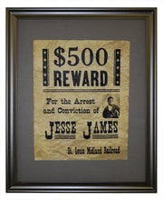 Jesse James Wanted Poster, Framed