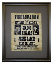 Jesse and Frank James Wanted Poster, Framed
