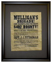 Mulligan's Brigade! Recruitment Poster, 1863, Framed