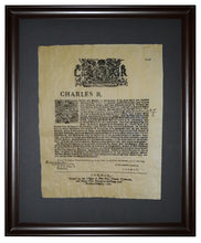 Deed to the Commonwealth of Pennsylvania 1681, Framed