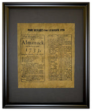 Reprint of two pages from Poor Richard's first Almanac - 1733, Framed