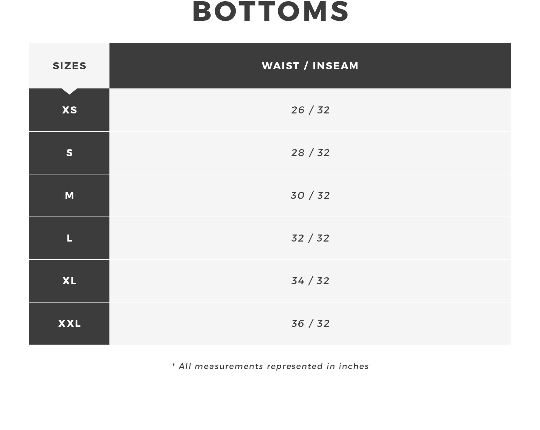 Urban Planet | Men's Bottoms Size Chart