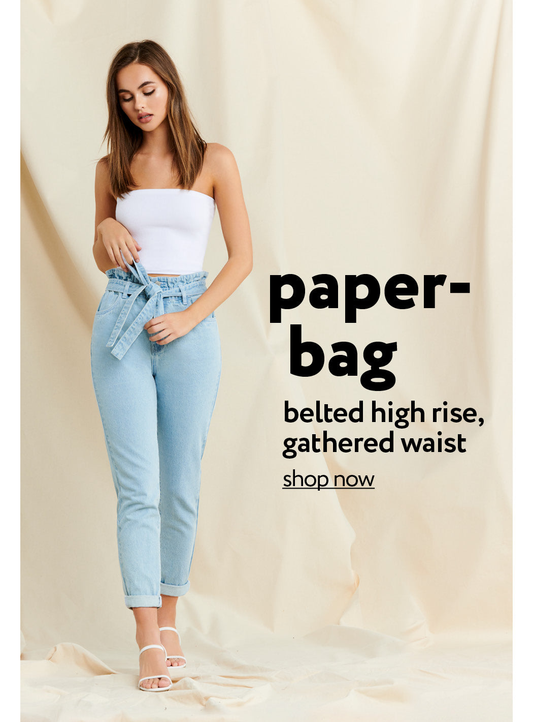 Urban Planet | Paperbag - Belted high rise, gathered waist - Shop Now