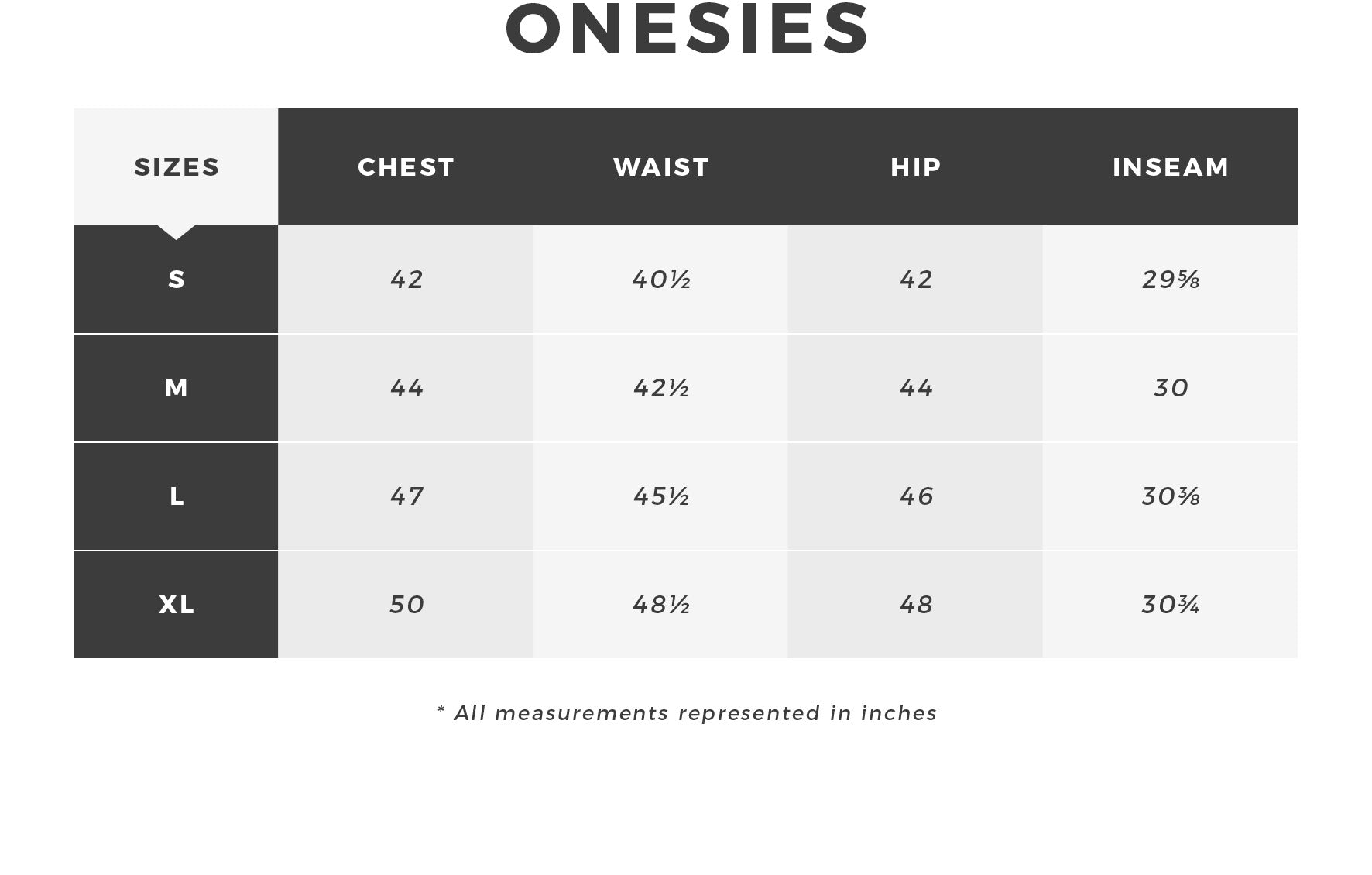 Urban Planet - Men's Onesie Size Guide