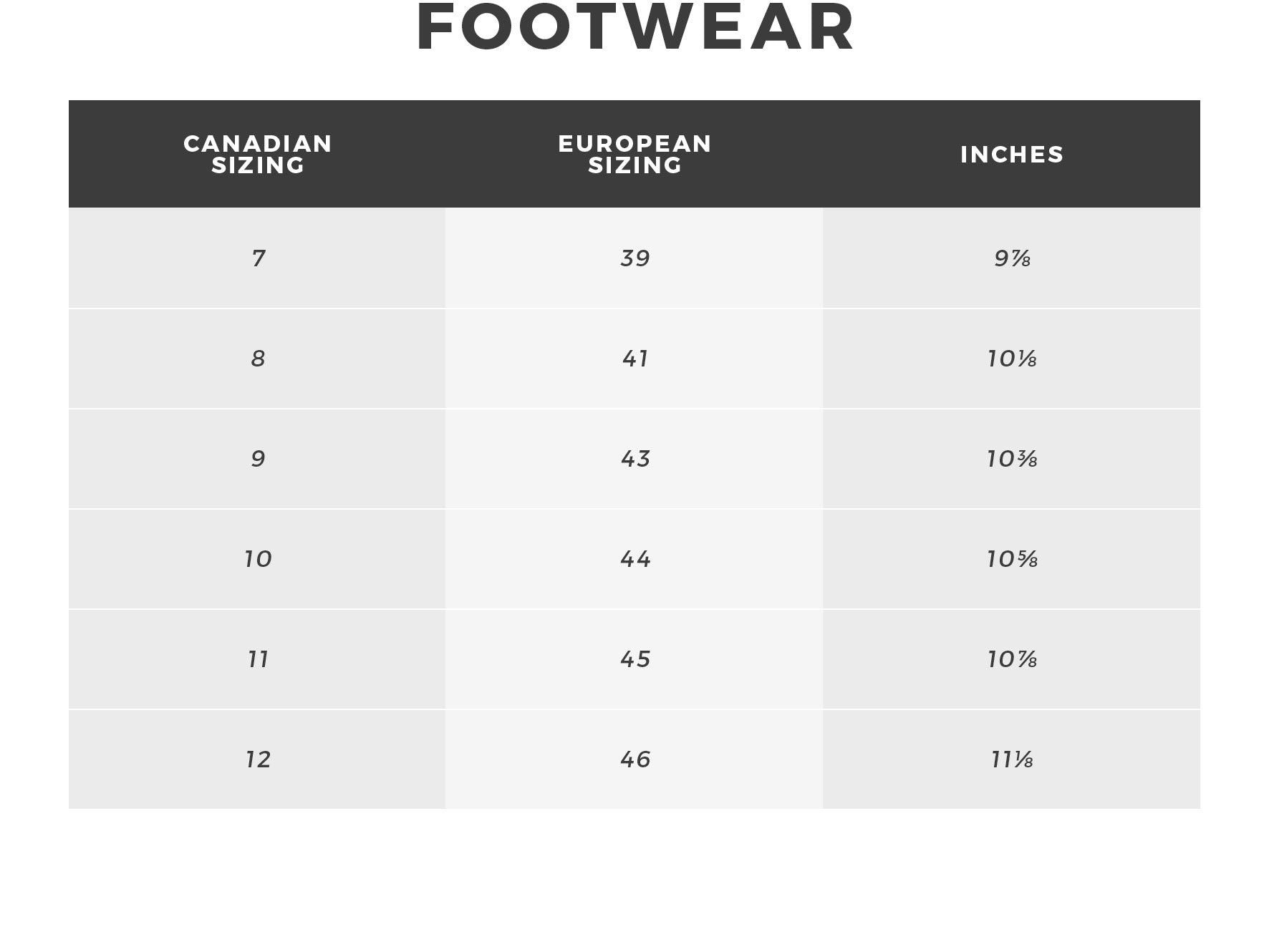 Urban Planet - Men's Footwear Size Guide