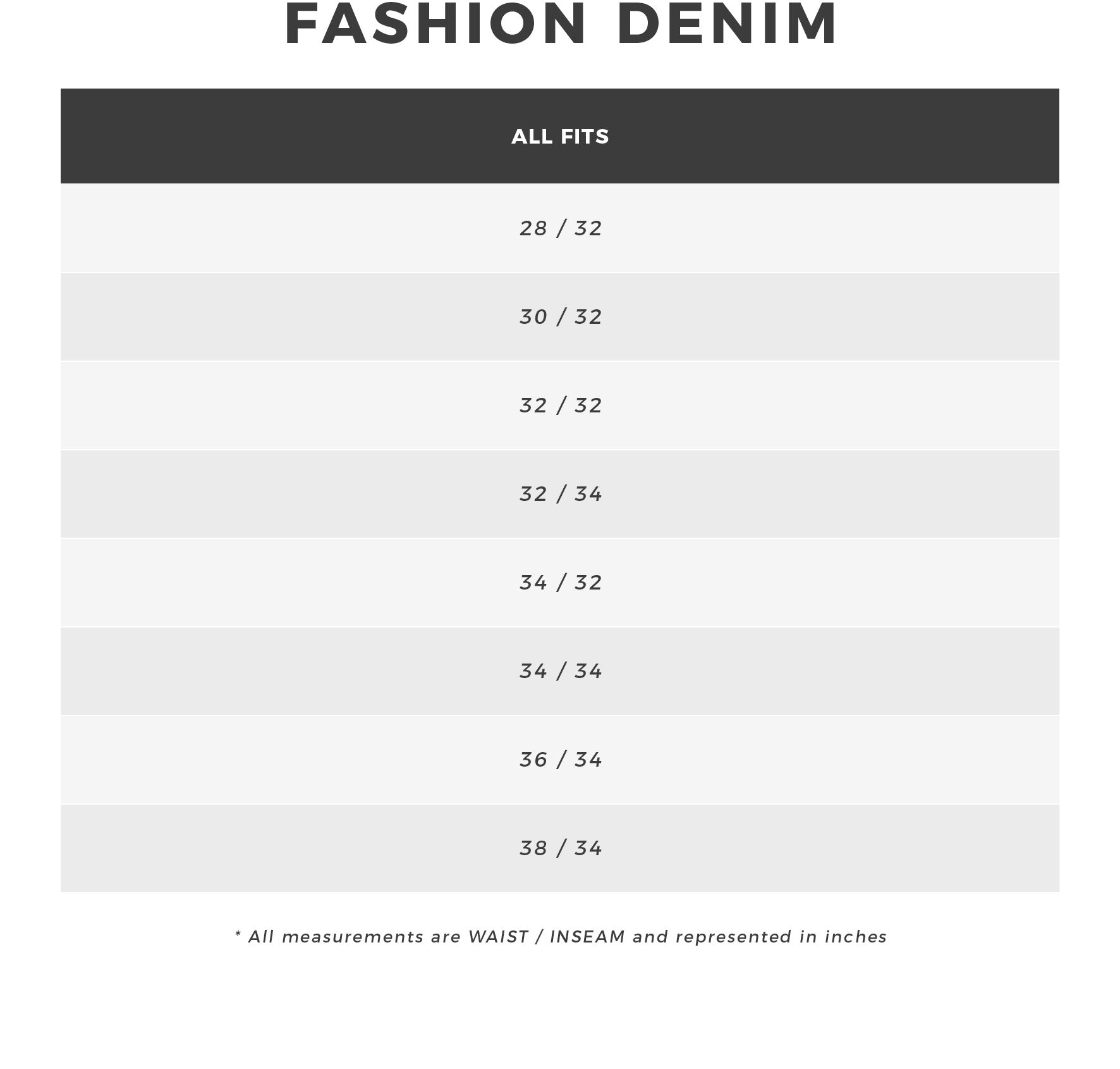 Urban Planet - Men's Fashion Denim Size Guide