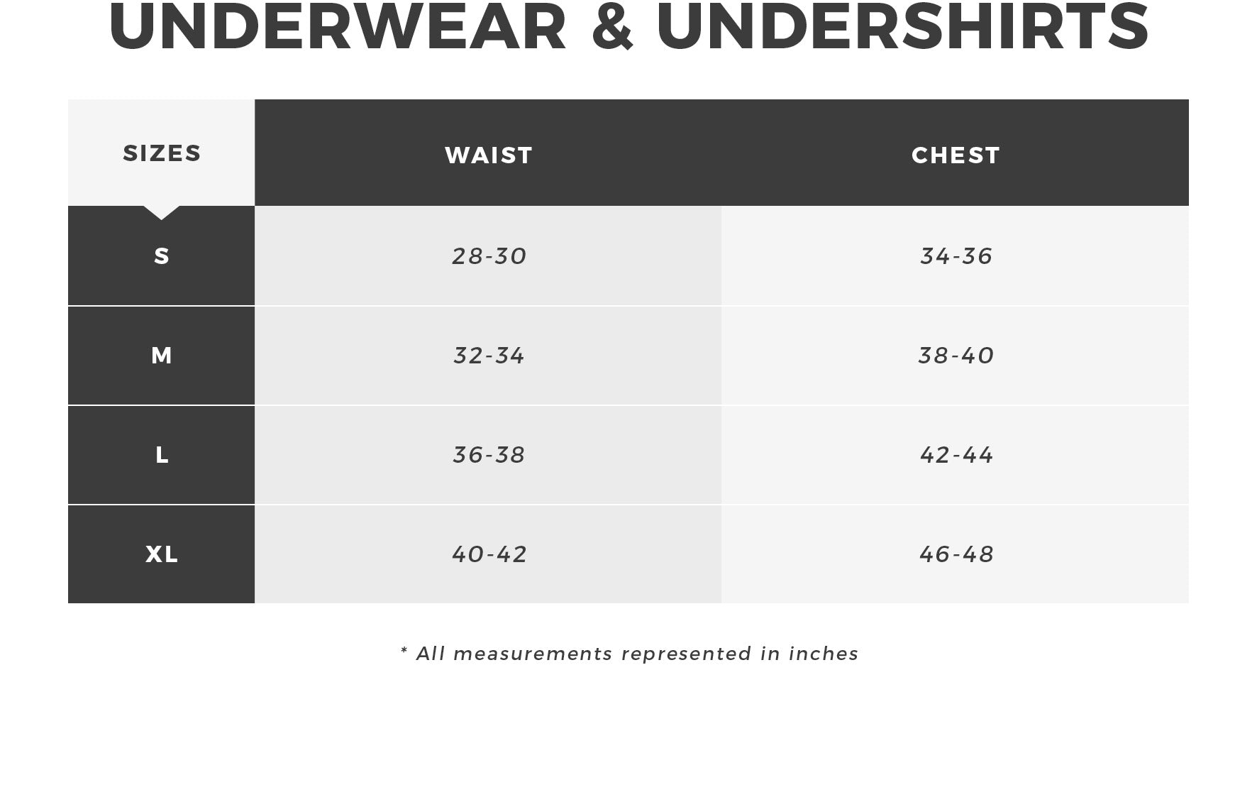 Urban Planet - Men's Underwear + Undershirts Size Guide