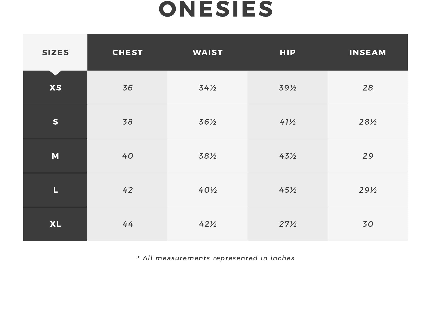 Urban Planet - Women's Onesie Size Guide