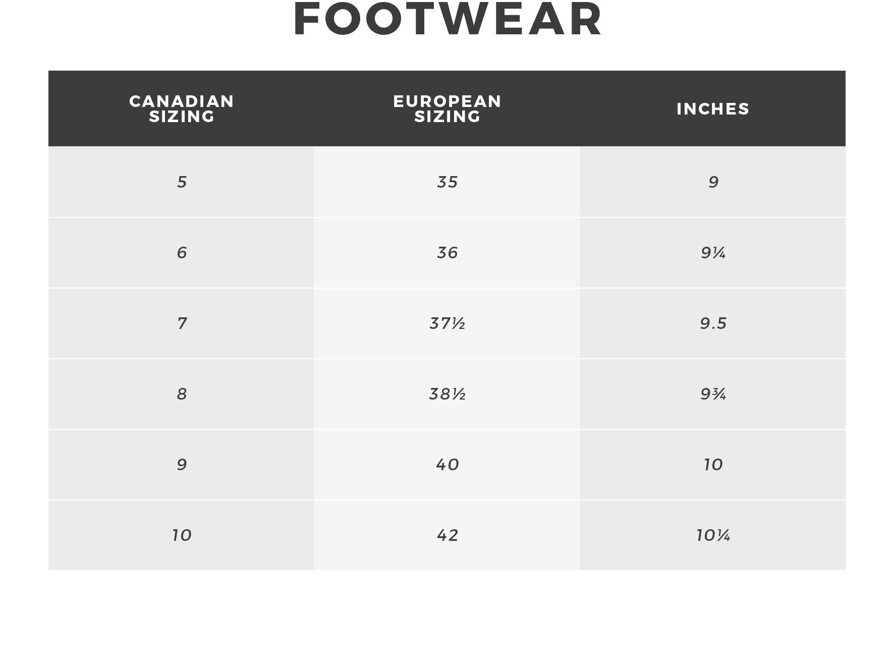 Urban Planet - Women's Footwear Size Guide