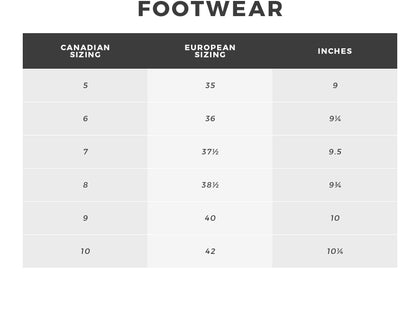 Urban Planet | Footwear Size Chart