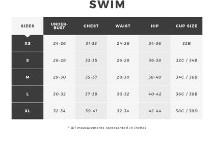 Urban Planet | Womens Swim Size Chart