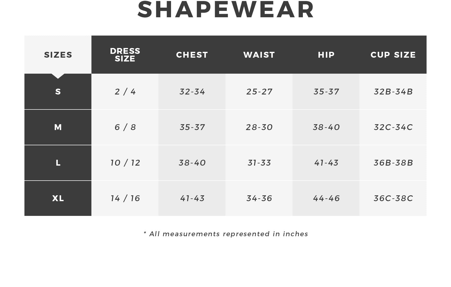 Urban Planet - Women's Shapewear Size Guide