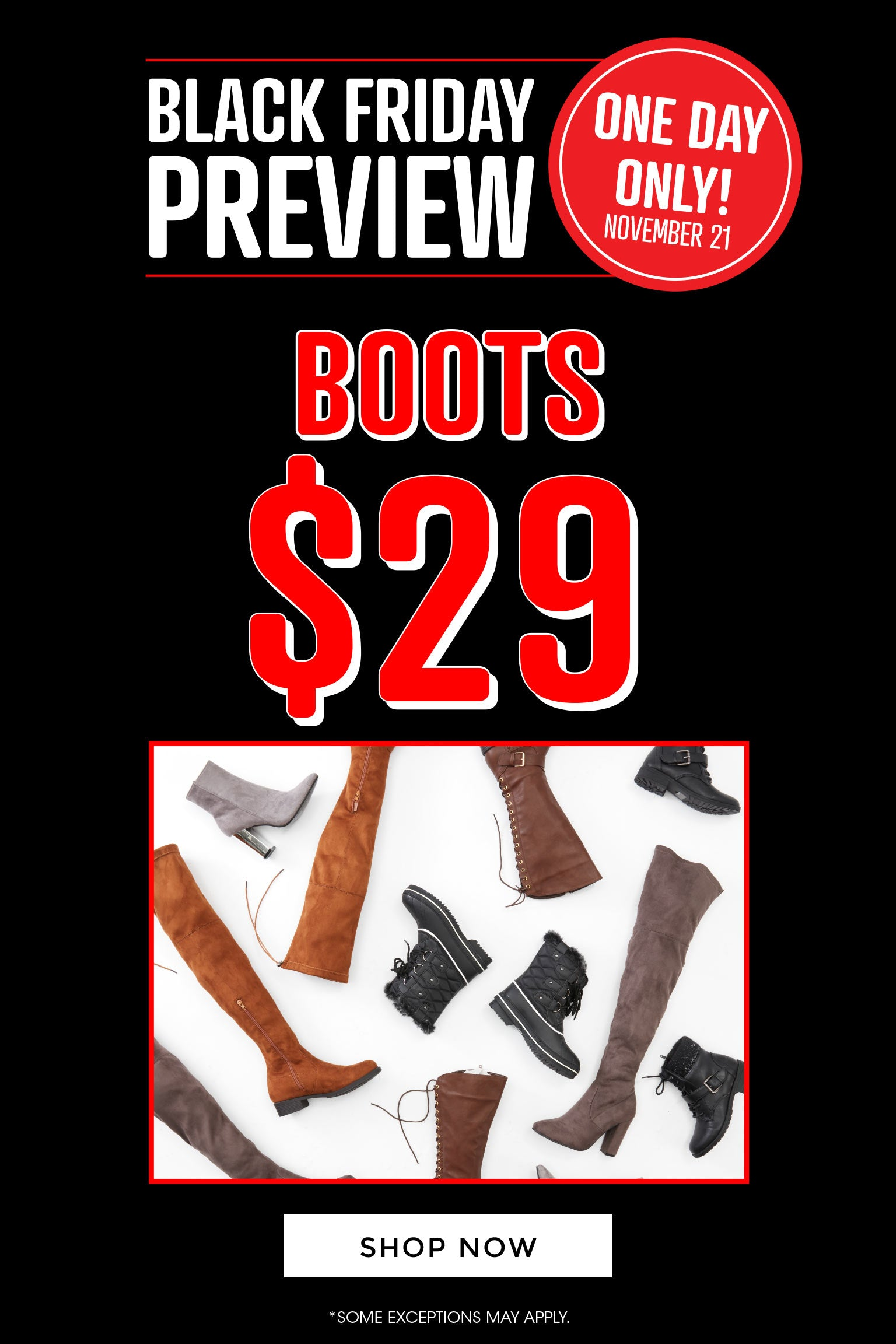 Black Friday Preview - $29 Boots
