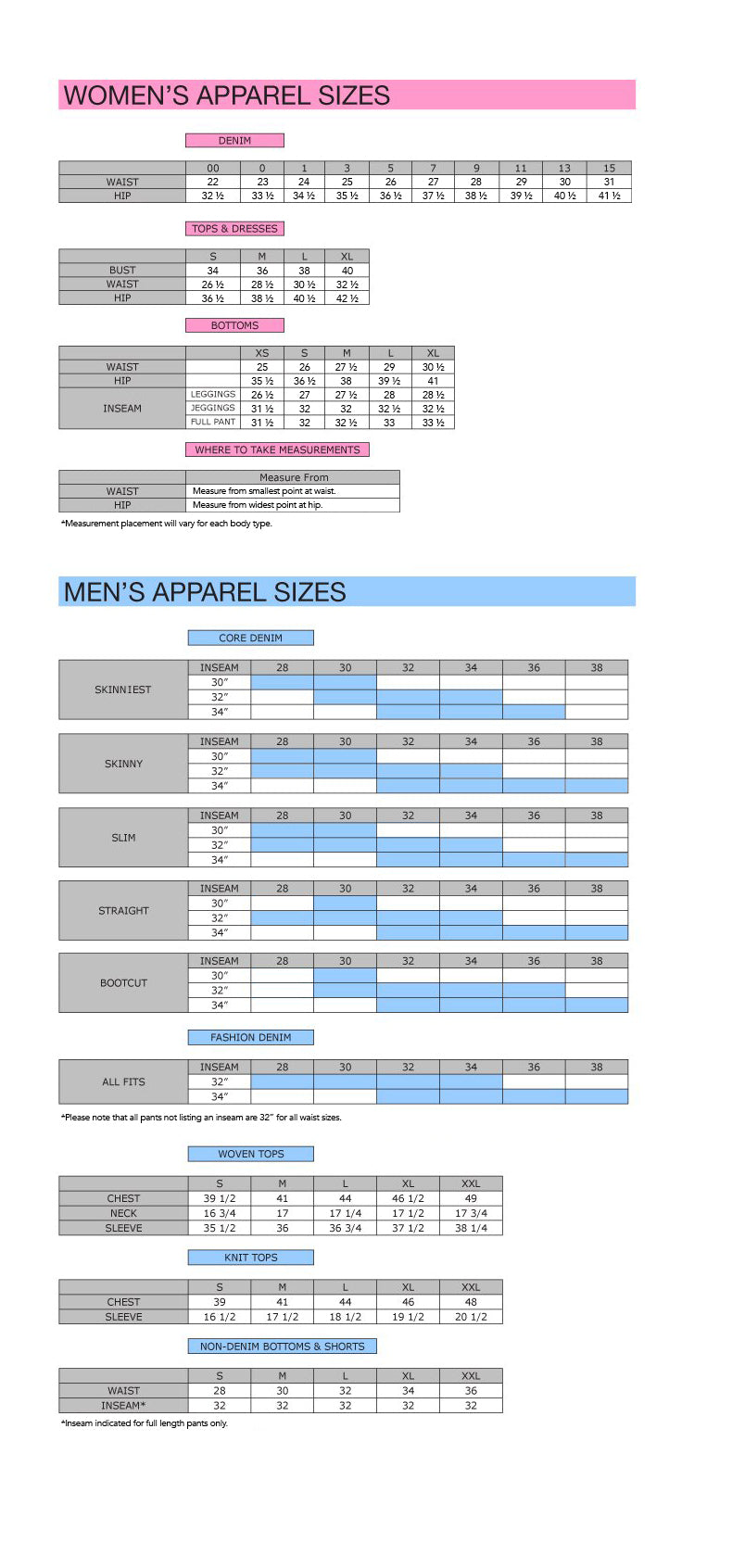 Women's & Men's Size Chart