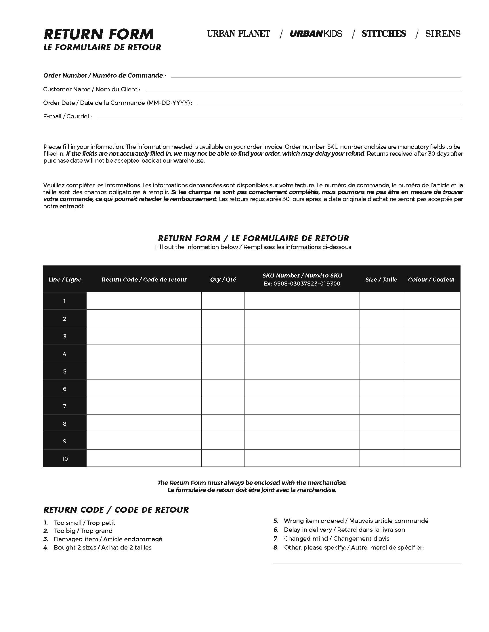 Urban Planet - Online Return Form
