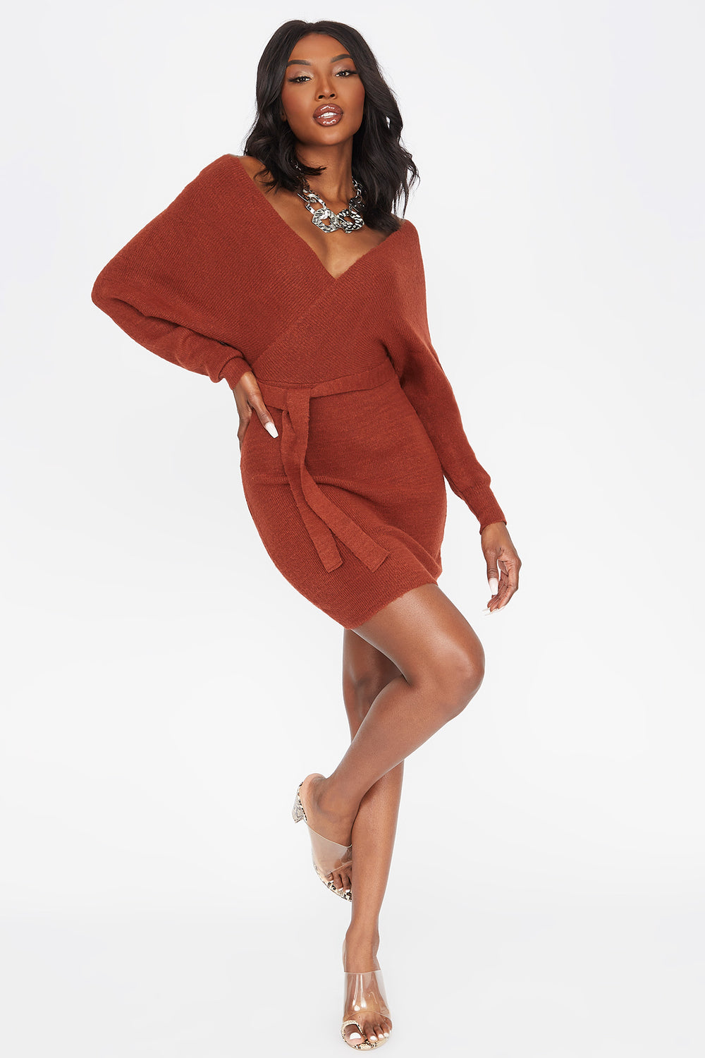 V-Neck Wrap Front Belted Sweater Dress Rust