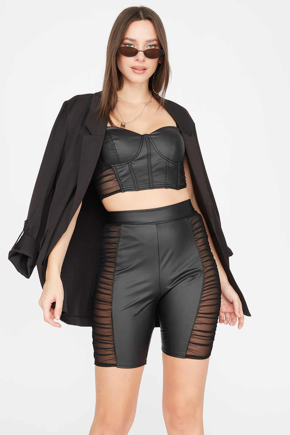 Faux-Leather Side Ruched Mesh Bustier Top Black