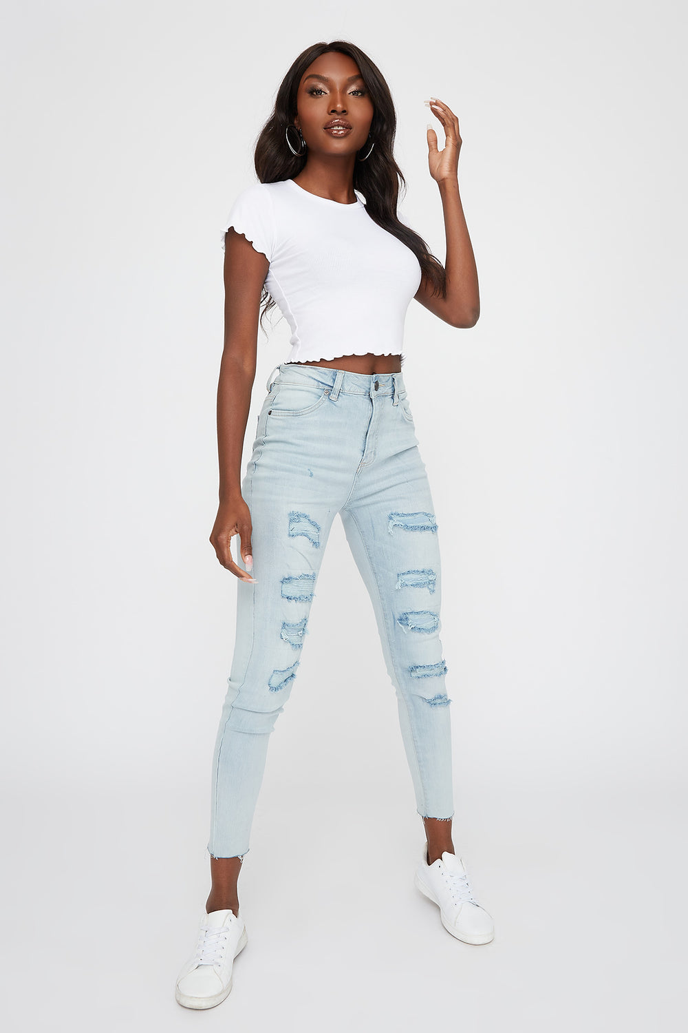 High-Rise Distressed Raw Skinny Jean Sky Blue