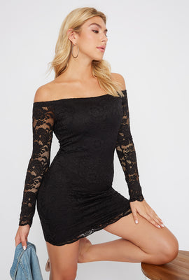 Lace Off the Shoulder Long Sleeve Mini Dress