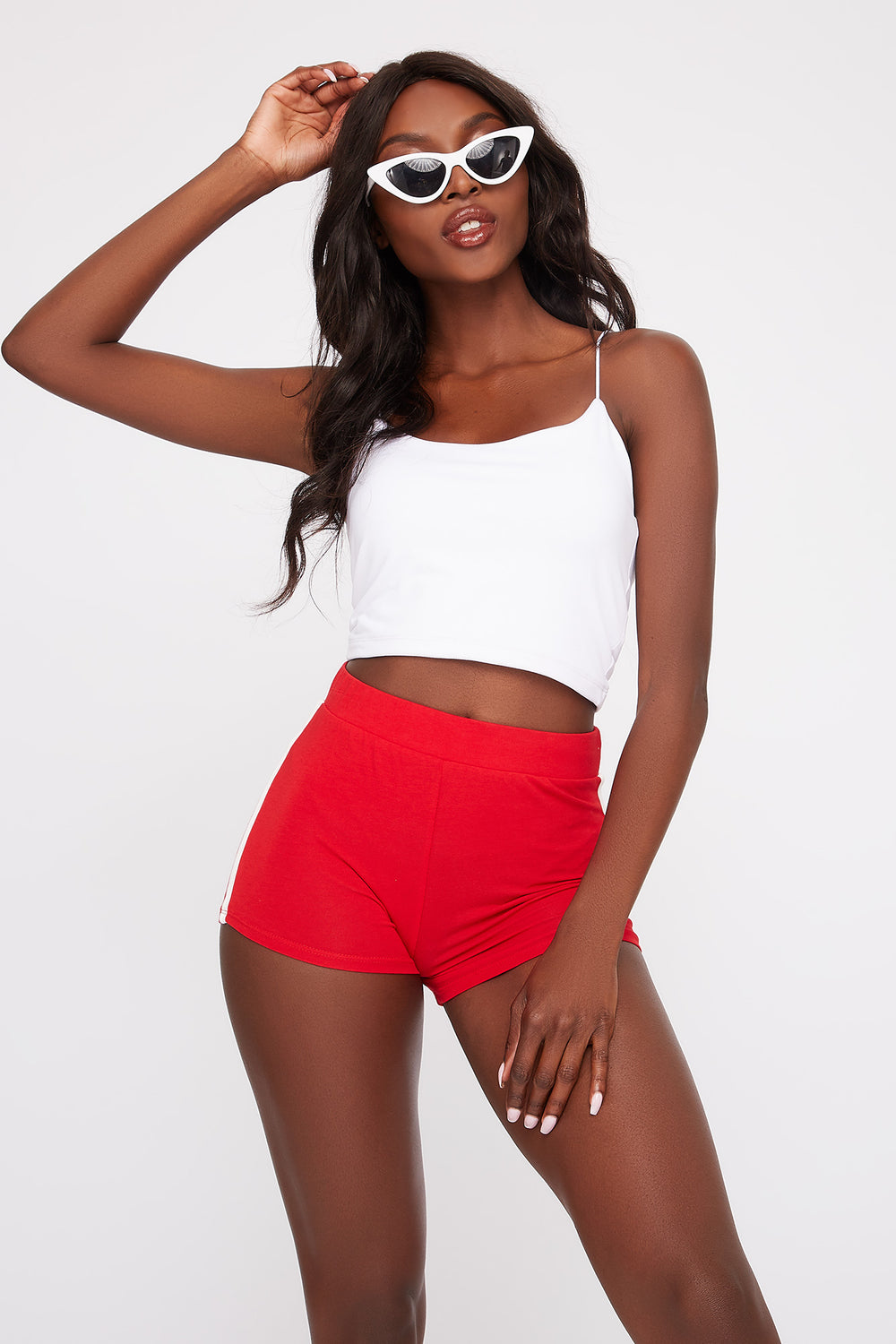 High-Rise Side Stripe Short Red