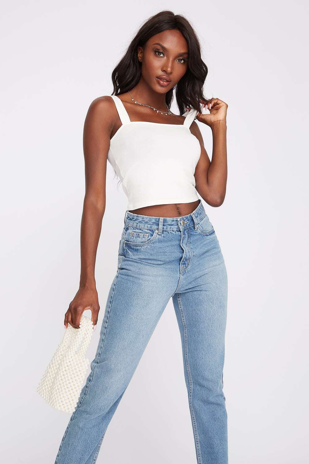 Square Neck Smocked Cropped Tank White