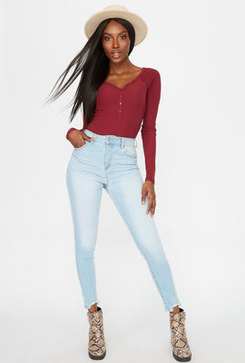 High-Rise Raw Hem Skinny Jean