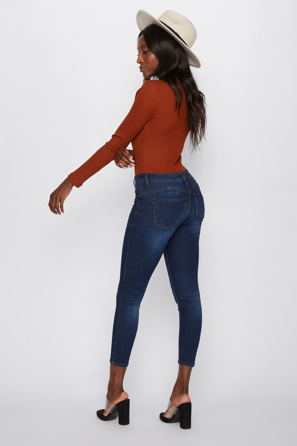 Butt, I Love You High-Rise Push-Up Cropped Skinny Jean Dark Blue
