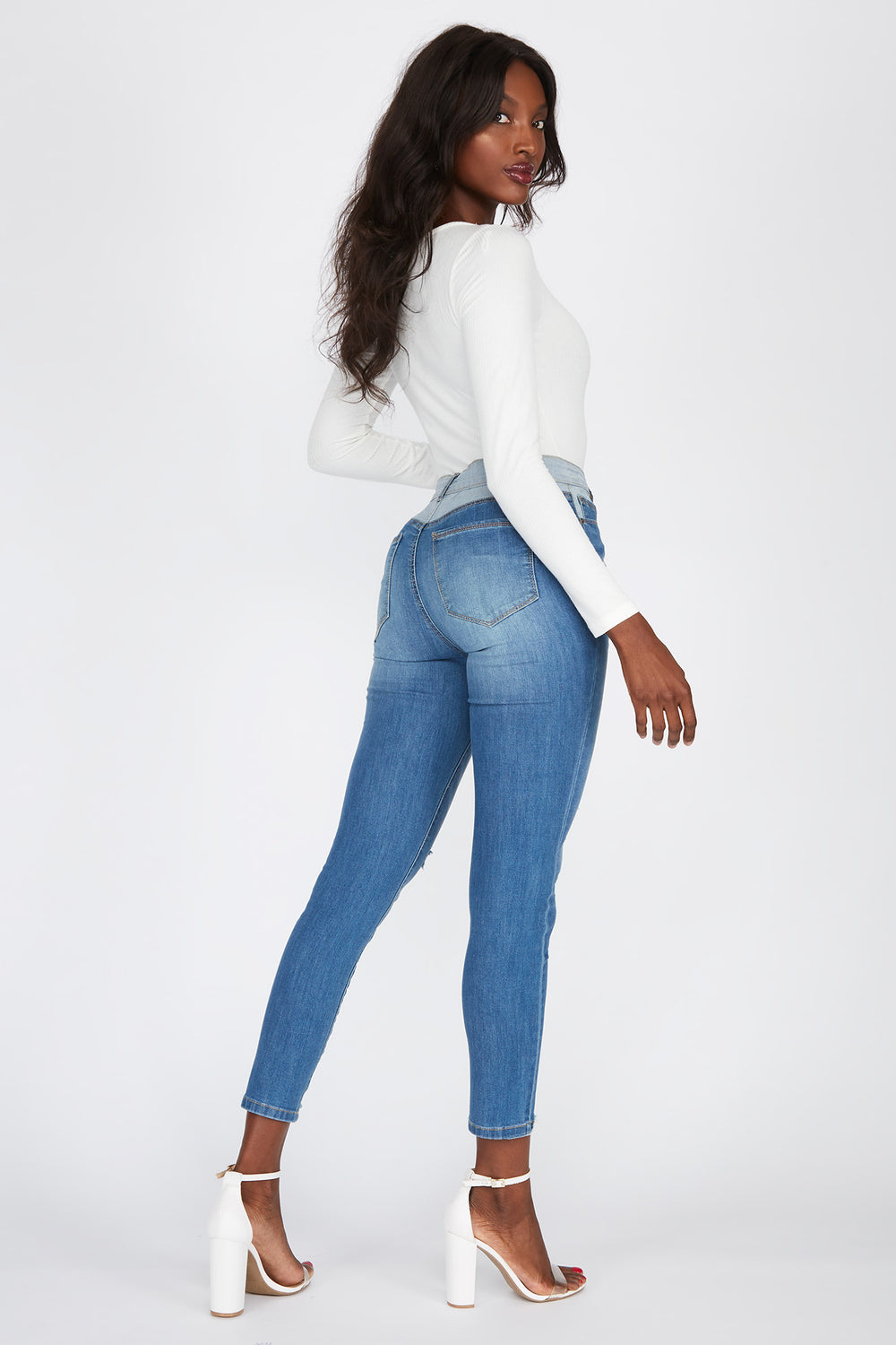 High-Rise Multi Wash Distressed Skinny Jean Medium Blue