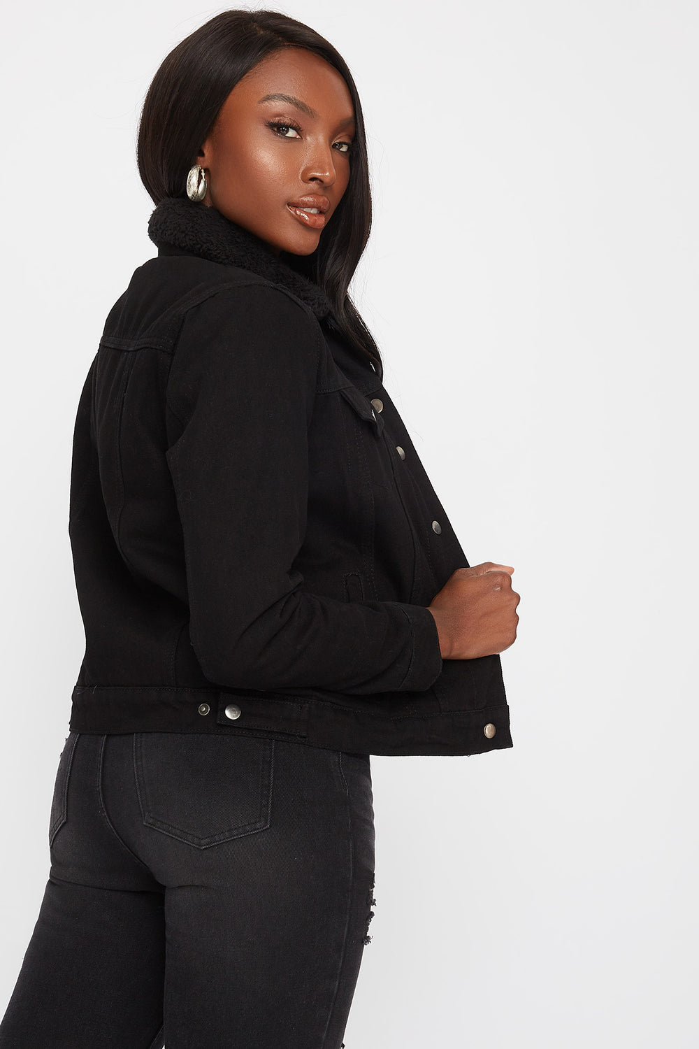 Black Sherpa Denim Trucker Jacket Black