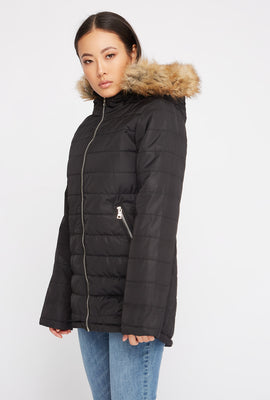 Faux-Fur Hooded Puffer Jacket
