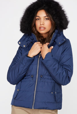 Faux-Fur Drawstring Hooded Puffer Jacket
