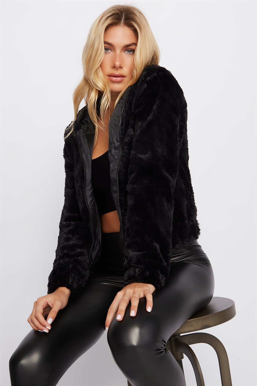 Faux-Fur Zip-Up Hooded Jacket Black