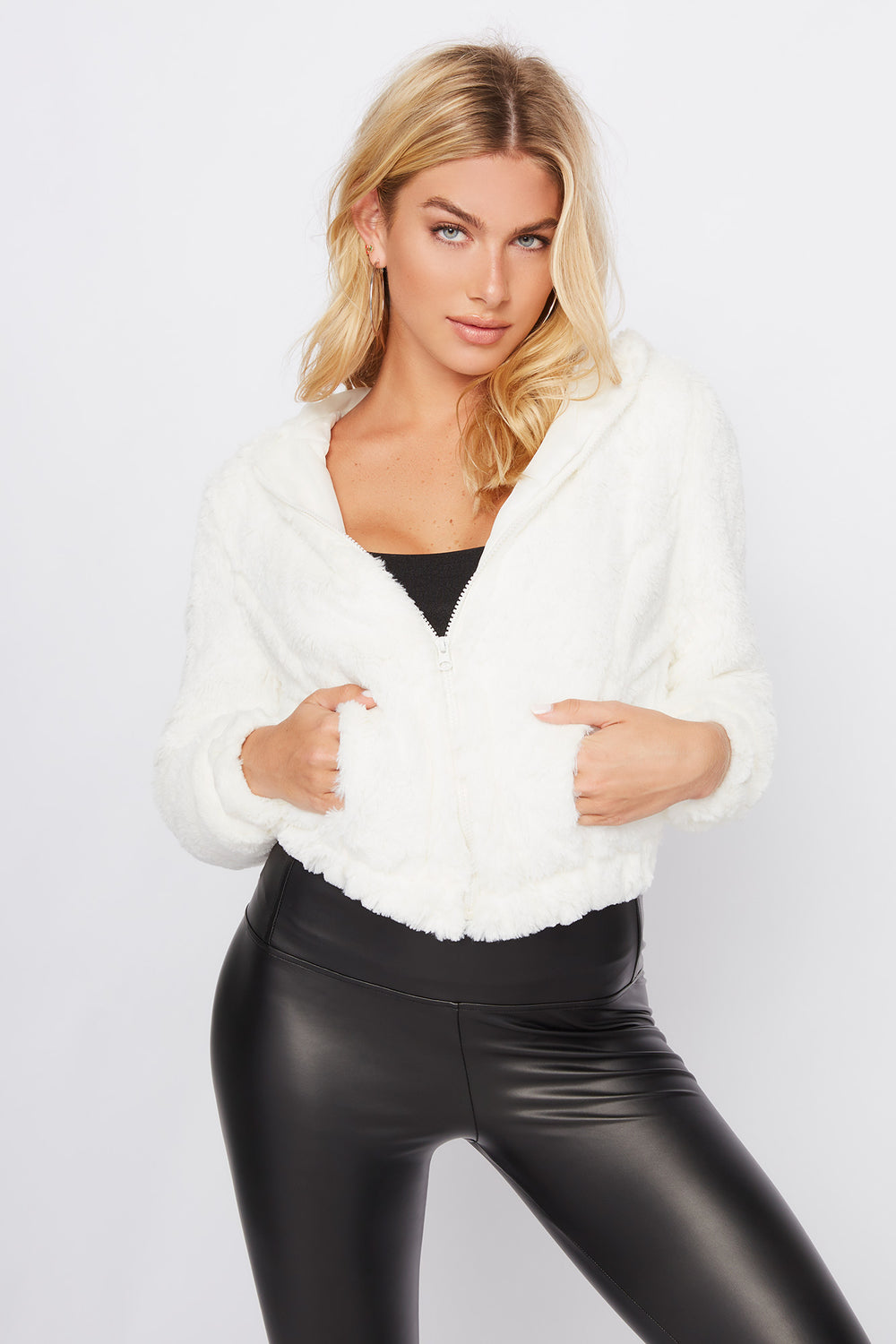 Faux-Fur Zip-Up Hooded Jacket Ivory