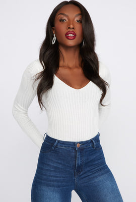 Cross Back V-Neck Long Sleeve